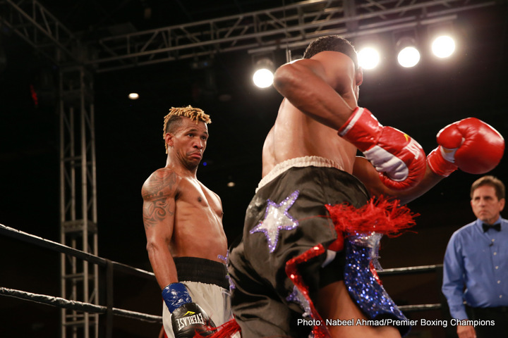 Leduan Barthelemy - Undefeated Cuban prospect Leduan Barthelemy (13-0, 7 KOs) scored a ninth round stoppage of Reynaldo Blanco (14-4, 8 KOs) Tuesday night in the main event of Premier Boxing Champions TOE-TO-TOE TUESDAYS on FS1 and BOXEO DE CAMPEONES on FOX Deportes from Robinson Rancheria Resort and Casino in Nice, California.