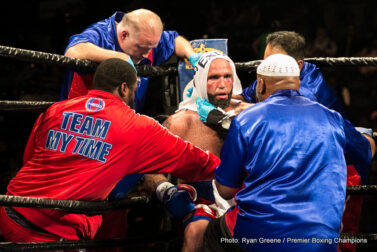 Amir Mansour, Kermit Cintron, Travis Kauffman - In a 12-round heavyweight war that lived up to the hype, Amir Mansour (23-2-1, 16 KOs) was able to take a majority decision (114-114, 117-111, 115-113) over Travis Kauffman (31-2, 23 KOs) in the main event of Premier Boxing Champions: The Next Round on Bounce from Santander Arena in Reading, PA.