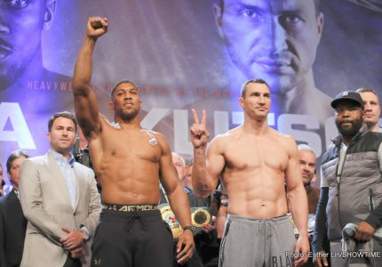 Photos: Anthony Joshua: 250.1 lbs. Wladimir Klitschko: 240.5 lbs.