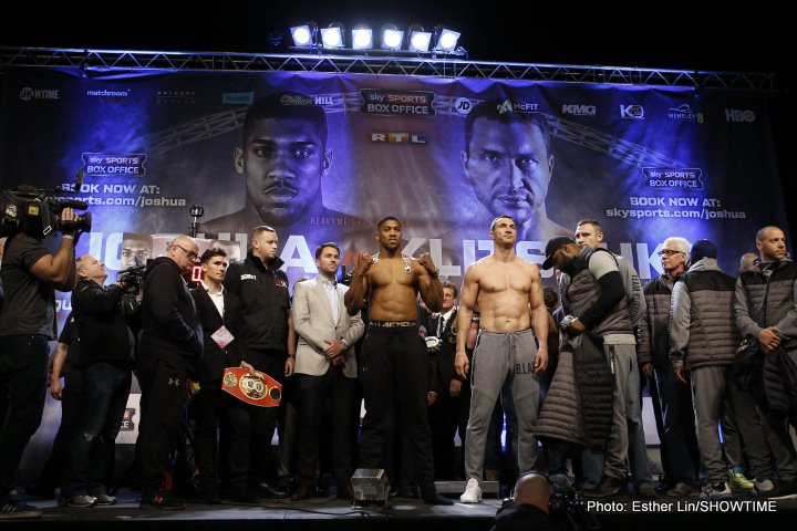 Anthony Joshua, Wladimir Klitschko - IBF Heavyweight Champion Anthony Joshua tipped the scale at 250 pounds and long-reigning champ Wladimir Klitschko measured 240 ½ pounds for their heavyweight blockbuster this Saturday live on SHOWTIME (4:15 p.m. ET/1:15 p.m. PT).