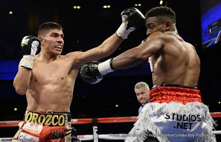 """- Antonio """"Relentless"""" Orozco (26-0, 17 KOs) wasn't up to any tricks this April Fool's Day as he proudly pronounced his return to the ring with a dominating knockout over KeAndre """"The Truth"""" Gibson (16-1-1, 7 KOs) in the fourth round of the main event live from The Cosmopolitan of Las Vegas and televised on ESPN Deportes and ESPN2. Both fighters entered the ring undefeated, yet it was Orozco who walked away as the new WBC USNBC Super Lightweight Champion."""