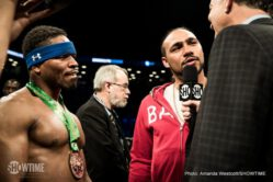 Andre Berto, Shawn Porter - Shawn Porter scored a ninth round stoppage of Andre Berto to become the WBC's mandatory challenger to unified welterweight champion Keith Thurman in the main event of SHOWTIME CHAMPIONSHIP BOXING, presented by Premier Boxing Champions, Saturday night on SHOWTIME from Barclays Center in Brooklyn.