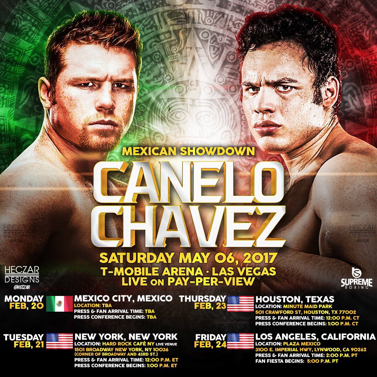 "Julio Cesar Chavez Jr., Saul ""Canelo"" Alvarez - As the clock begins to tick towards the highly anticipated Cinco de Mayo Weekend Canelo-Chavez, Jr. event on May 6, HBO Pay-Per-View, fighters including Former IBF Middleweight Champion David Lemieux (37-3, 33 KOs), Marco ""Dorado"" Reyes (35-4, 26 KOs), Former WBC Silver Super Lightweight Champion Lucas ""La Maquina"" Matthysse (37-4, 34 KOs), Emmanuel ""Tranzformer"" Taylor (20-4, 14 KOs), NABF Featherweight Champion Joseph ""JoJo"" Diaz, Jr.  (23-0, 13 KOs), and IBA Featherweight Champion Manuel ""Tino"" Avila  (22-0, 8 KOs) hosted an international media conference call ahead of their fights presented live on HBO Pay-Per-View® and straight from T-Mobile Arena in Las Vegas, NV."