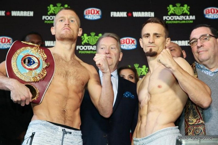 Petr Petrov, Terry Flanagan - WBO Lightweight world champion Terry Flanagan weighed in at 134.5 lbs while number-2 ranked Petr Petrov checked in at 134.6 lbs for Saturday's WBO Lightweight world title fight in Manchester, England.