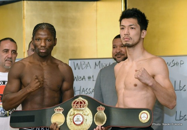 Hassan N'Dam - Tokyo - Thursday May 17th at the Grand Palace Hotel WBA Interm Middleweight Champion Hassan N'Dam N'Jikam of France (35-2-0, 21 KO's) and 2012 Olympic gold medalist Ryota Murata of Japan (12-0-0, 9 KO's) held their final press conference to decide the regular WBA World Middleweight champion at the Ariake Colossuem in Tokyo Japan set for this Saturday May 20th, 2017. Also on the fight card are two WBC world championship bouts. DaigoHiga (12-0-0, 12 KO's) of Okinawa, Japan will challenge Juan Hernandez Navarrete (34-2-0, 26 KO's) of Mexico City D.F. for the WBC Flyweight championship. Ken Shiro (9-0-0, 5 KO's) of Kyoto, Japan faces WBC light flyweight titlist Ganigan Lopez (28-6-0, 17 KO's) of Mexico City D.F. Press in attendance and coverage of this mega event has been unprecedented due to Ryota Murata's ever growing star power in Japan. This triple title event is presented by Teiken Promotions and televised live by Fuji TV at 7:00pm JST.