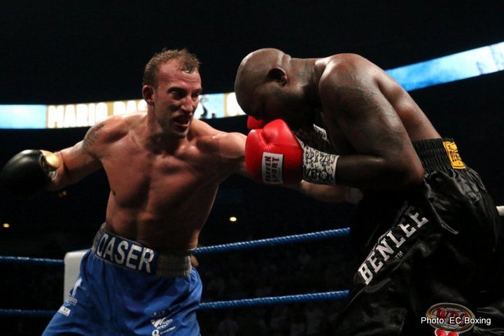 Ola Afolabi - Little known, German cruiserweight prospect Mario Daser (13-0, 6 KOs) scored a surprising 3rd round knockout over former 4 time world title challenger Ola Afolabi (22-6-4, 11 KOs) Friday night at the Barclaycard Arena in Hamburg, Germany. Daser, 28, knocked the 37-year-old Afolabi down with a left to the body in the 3rd.