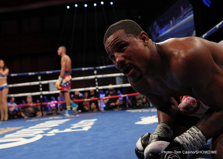Andre Dirrell - In a 12-round clash for the IBF Interim Super Middleweight Title, Flint, Michigan's Andre Dirrell, (26-2, 16 KOs), was declared the winner after round eight as Jose Uzcategui, (26-2, 22 KOs) of Merida, Venezuela, was disqualified for a punch after the bell sounded to end the eighth round.