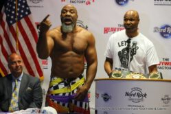 """Fres Oquendo, Shannon Briggs - Heavyweight contenders Shannon """"The Cannon"""" Briggs and Fres Oquendo faced off for the first time today (Tuesday, May 9) before they battle for the WBA Heavyweight Championship on Saturday, June 3 in the main event of Backyard Brawl: Briggs vs. Oquendo taking place at Hard Rock Live at Seminole Hard Rock Hotel & Casino in Hollywood, Fla."""