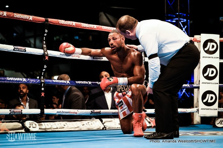 "Errol Spence Jr., Kell Brook - Errol Spence Jr. (22-0, 19 KOs) put in a workmanlike performance in wearing down Kell ""Special K"" Brook (36-2, 25 KOs) in stopping him in the 11th round to take his IBF welterweight title from him at Bramall Lane in Sheffield, England. Brook quit on in the 11th after taking knee for the second time in the fight."