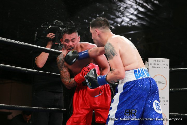 Aaron Herrera - Former world champion Brandon Rios (34-3-1, 24 KOs) returned to the ring with a seventh round TKO of Mexico's Aaron Herrera (23-7-1, 14 KOs) in the main event of Premier Boxing Champions on FS1 and FOX Deportes Sunday night from The Pioneer Event Center in Lancaster, California.