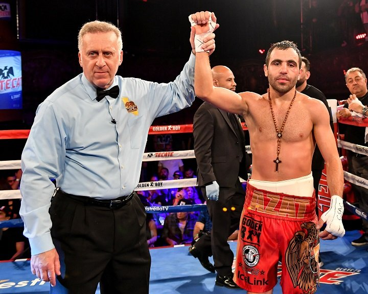 "Azat Hovhannisyan - In front of a sold out Belasco Theater, Armenian fighter Azat ""Attack"" Hovhannisyan (12-2, 10 KOs) of Los Angeles, CA took down Mexico City's Isao ""Kato"" Carranza (15-9-1, 8 KOs) in an eight-round super bantamweight main event fight. Towards the end of the third round, Carranza slipped yet rebounded back to fight. Hovhannisyan, living up to his nickname ""Attack,"" earned a unanimous decision victory with all judges scoring the fight 80-72."
