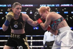Katie Taylor - Irish sensation Katie Taylor (6-0, 4 KOs) stopped Jasmine Clarkson (4-9) after three rounds of action in the latter fighter's U.S. debut.