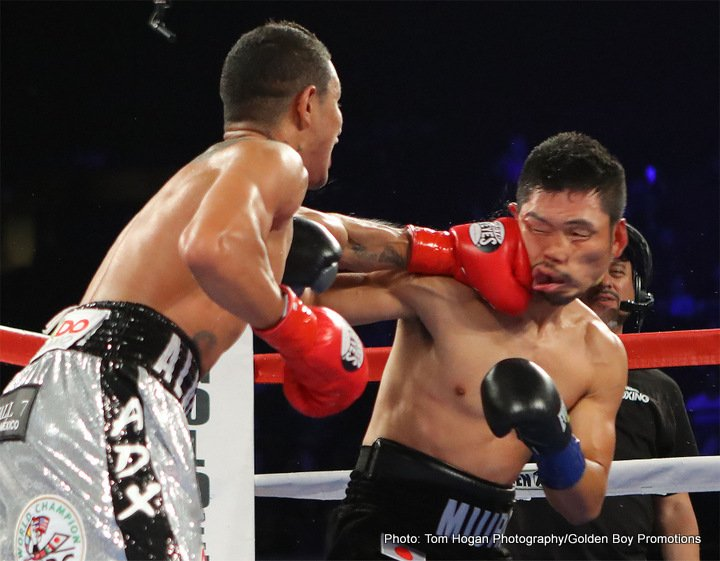"Miguel Berchelt, Takashi Miura - Making the first defense of his WBC Super Featherweight Championship, Miguel ""El Alacran"" Berchelt (32-1, 28 KOs) knocked down Takashi Miura (31-4-2, 24 KOs) in the first round before rolling to a clear-cut unanimous decision victory in the 12-round main event of HBO Boxing After Dark live from Los Angeles' ""Fabulous"" Forum."
