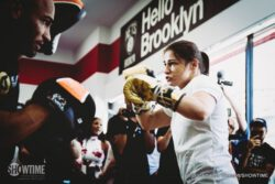 Adrien Broner, Jermall Charlo, Jorge Sebastian Heiland, Mikey Garcia - Fighters competing on the Adrien Broner vs. Mikey Garcia undercard this Saturday, July 29 at Barclays Center held an open-to-the-public media workout Wednesday at Modell's Sporting Goods in Brooklyn before they enter the ring this weekend.