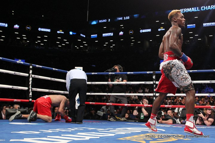 Jermall Charlo, Jorge Sebastian Heiland - Undefeated Jermall Charlo (26-0, 20 KOs) made his debut at 160-pounds with a stoppage of Argentine contender Jorge Sebastian Heiland (29-5-2, 16 KOs) in the co-featured event of SHOWTIME CHAMPIONSHIP BOXING. The stoppage came at 2:13 of the fourth round after Charlo delivered a devastating left hook followed by a big right to end the fight.