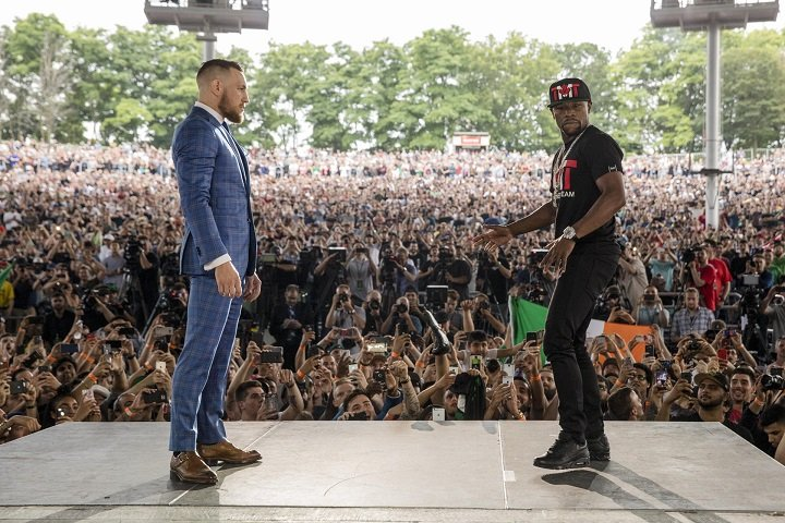 Conor McGregor - The tension between boxing legend Floyd Mayweather and UFC superstar Conor McGregor boiled over into Toronto on Wednesday as the global stars continued their blockbuster World Tour to announce their Aug. 26 showdown on SHOWTIME PPV from T-Mobile Arena in Las Vegas.
