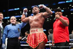 "Gerald Washington, Jarrell Miller - Headlining the ""SHOWTIME CHAMPIONSHIP BOXING Prelims"" on Facebook Live, heavyweight Jarrell Miller (19-0-1, 17 KOs), of Brooklyn, N.Y., stopped former world title challenger Gerald Washington (18-2-1, 12 KOs) after eight-rounds."