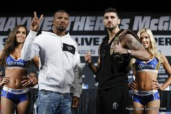 "Badou Jack, Conor McGregor, Floyd Mayweather Jr, Francisco Fonseca, Gervonta ""Tank"" Davis, Nathan Cleverly - Fighters competing on the Mayweather vs. McGregor undercard spoke to media and went face-to-face Thursday, one day before they weigh-in ahead of their Saturday, Aug. 26 showdowns at T-Mobile Arena in Las Vegas."