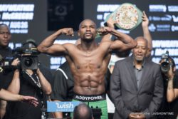 Conor McGregor, Floyd Mayweather Jr - Conor McGregor proved a lot of boxing fans wrong today in making weight at 153 lbs. for his mega-fight against 40-year-old Floyd Mayweather Jr. on Saturday at the T-Mobile Arena in Las Vegas, Nevada. McGregor not only made weight, he also won the event in trash talking Mayweather from start to finish during the face off.
