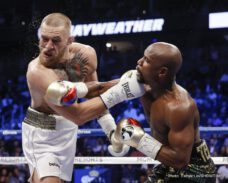 "Conor McGregor, Floyd Mayweather Jr - Future Boxing Hall of Famer Floyd ""Money"" Mayweather ended his historic career in style on Saturday night with a convincing 10th-round technical knockout victory over UFC mega-star Conor McGregor in the main event of a four-fight SHOWTIME PPV event from T-Mobile Arena in Las Vegas."