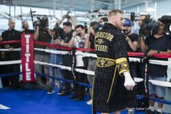 """Conor McGregor, Floyd Mayweather Jr -  It was """"The Notorious"""" Conor McGregor's turn to meet with the media on Friday from UFC Performance Institute in Las Vegas, a day after Floyd """"Money"""" Mayweather did the same in advance of their Saturday, Aug. 26, headlining attraction of a SHOWTIME PPV event from T-Mobile Arena in Las Vegas."""