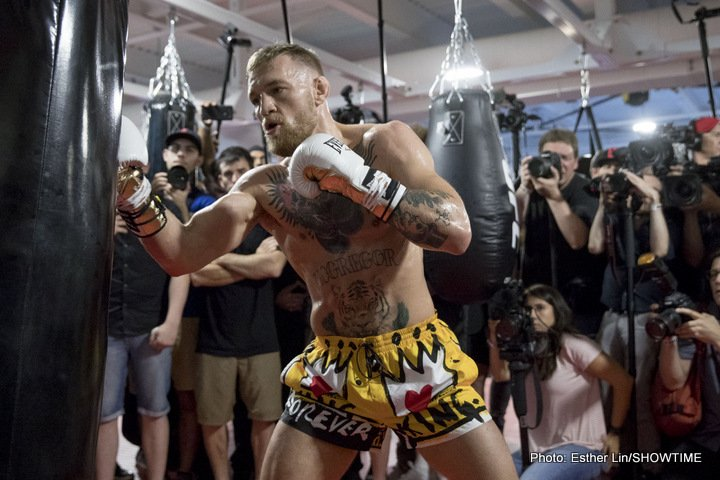 """Conor McGregor -  It was """"The Notorious"""" Conor McGregor's turn to meet with the media on Friday from UFC Performance Institute in Las Vegas, a day after Floyd """"Money"""" Mayweather did the same in advance of their Saturday, Aug. 26, headlining attraction of a SHOWTIME PPV event from T-Mobile Arena in Las Vegas."""