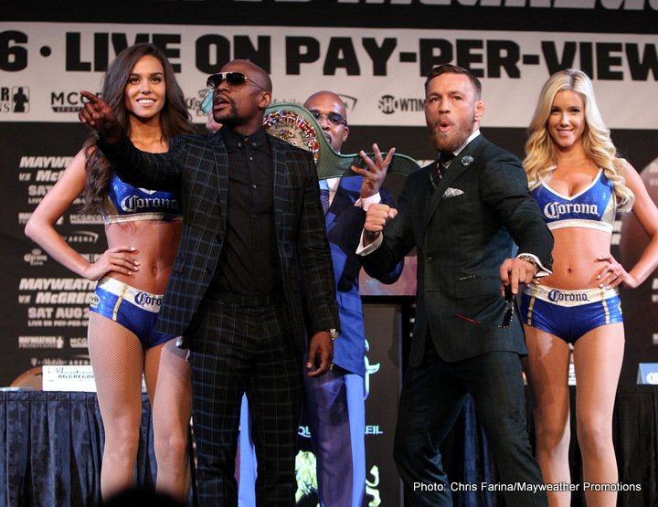 Conor McGregor, Floyd Mayweather Jr - Floyd Mayweather Jr. made his professional debut 21 years ago and wasn't a novice even then, he was a schooled and proven amateur with Olympic silver for credentials. He started as a super featherweight and grew up to (super) welterweight. This time the fight is contracted at light middleweight or 154 lbs., a comfortable limit considering the two years of inactivity/retirement for the boxing superstar.