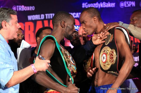 """Julius Indongo, Oleksandr """"The Nail"""" Gvozdyk - The official weigh in was held today for tomorrow night's World Junior Welterweight Unification Championships, featuring undefeated world champions Terence Crawford and Julius """"Blue Machine"""" Indongo, to air exclusively in Canada on Super Channel, starting at 9 p.m. ET / 6 p.m. PT, live from Pinnacle Bank Arena in Lincoln, Nebraska."""
