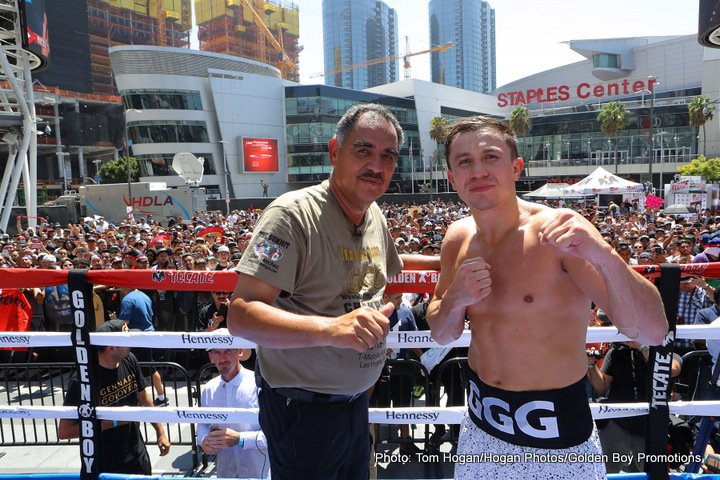 """Gennady Golovkin, Saul """"Canelo"""" Alvarez - Lineal and Ring Magazine Middleweight Champion Canelo Alvarez (49-1-1, 34 KOs) and WBC/WBA/IBF/IBO Middleweight Champion Gennady """"GGG"""" Golovkin (37-0, 33 KOs) hosted an open media workout at L.A. LIVE ahead of their highly anticipated showdown. Canelo vs. Golovkin, the battle for the middleweight championship of the world, will take place on Sept. 16 and will be produced and distributed live by HBO Pay-Per-View® beginning at 8:00 p.m. ET/5:00 p.m. PT."""