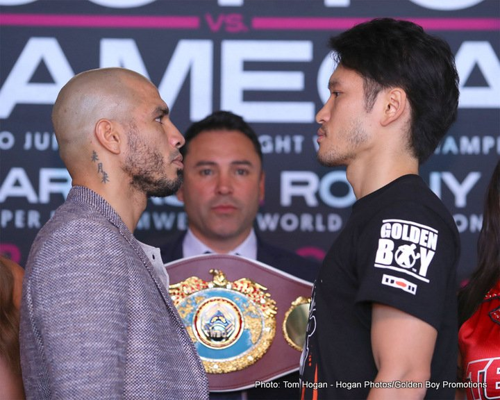 """Miguel Cotto, Rey Vargas, Ronny Rios, Yoshihiro """"El Maestrito"""" Kamegai - Miguel Cotto (40-5, 33 KOs), the only four-division world champion in Puerto Rico's rich boxing history, and Japanese 154-pound contender Yoshihiro """"El Maestrito"""" Kamegai (27-3-2, 24 KOs) hosted their final press conference today ahead of their 12-round fight for the vacant WBO World Junior Middleweight title in the main event of an exciting action-packed card this Saturday, August 26 at the StubHub Center in Carson, Calif. and televised live on HBO World Championship Boxing® beginning at 9:45 p.m. ET/PT."""