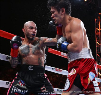 """Miguel Cotto, Yoshihiro """"El Maestrito"""" Kamegai - Miguel Cotto (41-5, 33 KOs), the only four-division world champion in Puerto Rico's rich boxing history, earned his sixth world title with a unanimous decision victory against the Japanese slugger Yoshihiro """"El Maestrito"""" Kamegai (27-4-2, 24 KOs) for the vacant WBO Junior Middleweight World Title in front of a sold-out crowd of 7,689 boxing fans at the StubHub Center in Carson, Calif. The judges scored the bout 119-109, 118-110, and 120-108 in favor of Cotto."""
