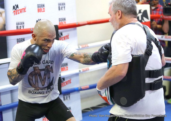 """Miguel Cotto, Yoshihiro Kamegai - Former four-division world champion Miguel Cotto (40-5, 33 KOs) hosted a media workout today at the Wild Card Boxing Gym ahead of his 12-round fight against Yoshihiro """"El Maestrito"""" Kamegai (27-3-2, 24 KOs) for the WBO World Junior Middleweight title that will take place on Saturday, Aug. 26 at the StubHub Center in Carson, Calif. and televised live on HBO World Championship Boxing® beginning at 9:45 p.m. ET/PT. Also participating in the workout was the highly talented 122-pound contender Ronny Rios (28-1, 13 KOs), who will take on Rey Vargas (29-0, 22 KOs) in a 12-round co-main event for Vargas' WBC Super Bantamweight time."""