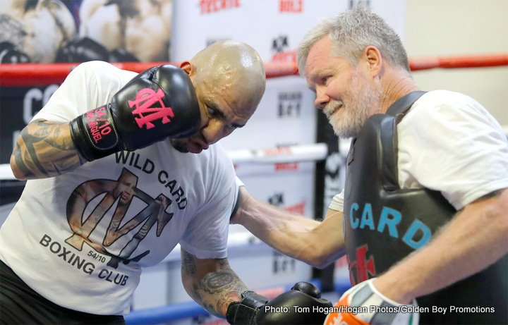 "Yoshihiro Kamegai - Former four-division world champion Miguel Cotto (40-5, 33 KOs) hosted a media workout today at the Wild Card Boxing Gym ahead of his 12-round fight against Yoshihiro ""El Maestrito"" Kamegai (27-3-2, 24 KOs) for the WBO World Junior Middleweight title that will take place on Saturday, Aug. 26 at the StubHub Center in Carson, Calif. and televised live on HBO World Championship Boxing® beginning at 9:45 p.m. ET/PT. Also participating in the workout was the highly talented 122-pound contender Ronny Rios (28-1, 13 KOs), who will take on Rey Vargas (29-0, 22 KOs) in a 12-round co-main event for Vargas' WBC Super Bantamweight time."