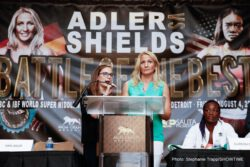 """Claressa Shields, Nikki Adler - The four fighters participating in """"Battle of the Best"""", the ShoBox: The New Generation headlined by WBC Super Middleweight World Champion Nikki Adler and two-time Olympic Gold Medalist Claressa Shields, participated in a final press conference on Wednesday in advance of Friday's doubleheader telecast from MGM Grand Detroit."""