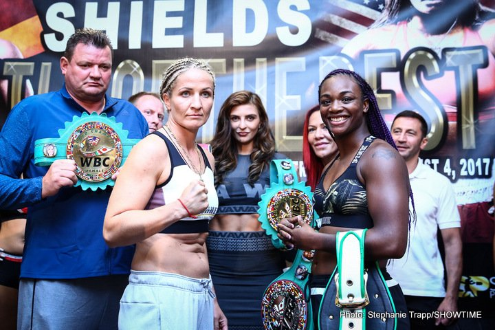 Nikki Adler - WBC Super Middleweight World Champion Nikki Adler and hometown favorite, two-time Olympic Gold Medalist Claressa Shields officially made weight on Thursday, one day before they headline a doubleheader tomorrow/Friday, Aug. 4 on ShoBox: The New Generation live on SHOWTIME® (10:30 p.m. ET/PT, delayed on the West Coast) from MGM Grand Detroit.