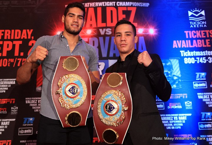 "Jesse Hart, Óscar Valdez - Undefeated World Boxing Organization (WBO) world champions ÓSCAR VALDEZ and GILBERTO ""Zurdo"" RAMIREZ will headline and exciting world championship event on Friday, September 22, at Tucson Arena (260 South Church Ave., Tucson, AZ 85701.)  Valdez (22-0, 19 KOs), a two-time Mexican Olympian with strong roots in Tucson, will be defending his WBO featherweight  title against the WBO's No. 4 world-rated contender GENESIS SERVANIA (29-0, 12 KOs), of Bacolod City, Philippines.  WBO super middleweight champion Ramirez (35-0, 24 KOs), from Mazatlan Mexico, will take on No. 1 contender and mandatory challenger JESSE ""Hard Work"" HART (22-0, 18 KOs), of Philadelphia, PA.  The four warriors boast a perfect combined record of 108-0 (73 KOs) with nearly 70% of their victories coming by way of knockout."