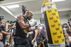 """Conor McGregor, Floyd Mayweather Jr - Floyd """"Money"""" Mayweather opened up the Mayweather Boxing Club on Thursday for a media workout ahead of his highly anticipated matchup against UFC champion Conor McGregor on Saturday, Aug. 26 in the headlining attraction of a SHOWTIME PPV event from T-Mobile Arena in Las Vegas."""