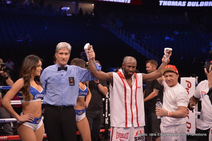 Thomas Dulorme, Yordenis Ugas - Welterweight contender Yordenis Ugas (20-3, 9 KOs) took home a unanimous decision victory over Thomas Dulorme (24-3, 16 KOs) despite being knocked down in Mayweather vs. McGregor preliminary action presented by Mayweather Promotions on FOX and FOX Deportes Saturday night from T-Mobile Arena in Las Vegas.