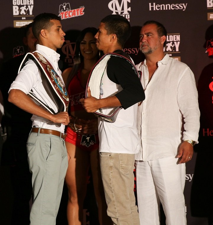"""Alberto """"El Explosivo"""" Machado - NABO Super Featherweight champion Alberto """"El Explosivo"""" Machado (17-0, 15 KOs) and NABA Super Featherweight champion Carlos """"The Solution"""" Morales (16-1-3, 6 KOs) hosted a press conference today ahead of their 10-round super featherweight unification fight that will headline the Aug. 18 edition of Golden Boy Boxing on ESPN. Catch the live coverage of Machado vs. Morales on ESPN Deportes starting at 10 p.m. EST/7 p.m. PST, and on ESPN2 beginning at 11 p.m. ET/ 8 p.m. PT."""