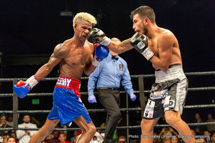 Eduardo Ramirez - Unbeaten featherweights Leduan Barthelemy (13-0-1, 7 KOs) and Eduardo Ramirez (20-0-3, 7 KOs) fought to an exciting split draw in their 10-round brawl that headlined Premier Boxing Champions TOE-TO-TOE TUESDAYS on FS1 and BOXEO DE CAMPEONES on FOX Deportes Tuesday night from the Cannery Hotel & Casino in Las Vegas.