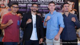 """Jorge Linares, Luke Campbell - Jorge """"El Niño de Oro"""" Linares (42-3, 27 KOs) and Luke Campbell (17-1, 14 KOs) hosted their final press conference today ahead of their 12-round fight for Linares' WBA, WBC Diamond and Ring Magazine Lightweight World Titles. The event will take place on Saturday, Sept. 23 at the """"Fabulous"""" Forum in Inglewood, Calif., and will be televised live on HBO World Championship Boxing® beginning at 11:00 p.m. ET/PT. The Linares vs. Campbell non-televised undercard action will be live streamed on RingTV.com beginning at 4:00 p.m. PT/ 7:00 p.m. ET."""