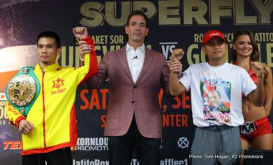 Antonio Nieves, Carlos Cuadras, Juan Francisco Estrada, Naoya Inoue, Roman Gonzalez - The Final Press Conference for 'SUPERFLY', this Saturday's historic tripleheader featuring six of the top super flyweights in the world, took place today in front of a massive contingent of media in Carson, California.