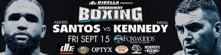 """Alexis Santos - The legendary Foxwoods Resort Casino, home to a long history of boxing's greatest nights, swings its doors open to New England fight fans next Friday, September 15, in an action-packed installment of the acclaimed ''BROADWAY BOXING"""" series presented by DIBELLA ENTERTAINMENT."""