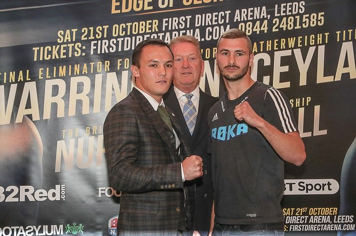 Dennis Ceylan - Josh Warrington and undefeated Dane Dennis Ceylan came face-to-face for the first time at a press conference in Leeds today ahead of their mandated Final Eliminator for the IBF Featherweight World title at the First Direct Arena on Saturday 21st October, live on BT Sport and BoxNation.