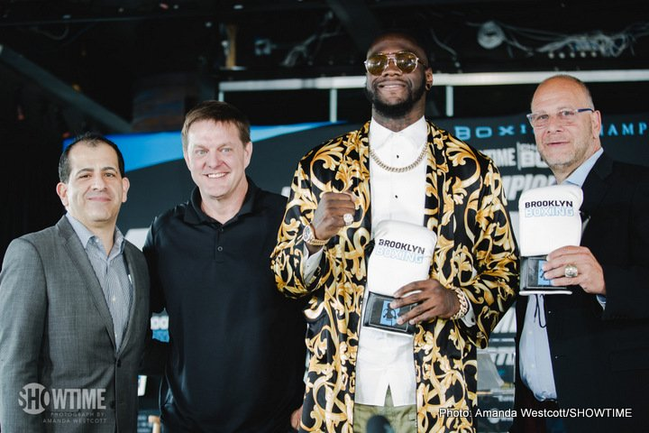 """Deontay Wilder - Undefeated WBC Heavyweight World Champion Deontay """"The Bronze Bomber'' Wilder and hard-hitting Cuban southpaw Luis """"The Real King Kong'' Ortiz announced their upcoming Nov. 4 SHOWTIME CHAMPIONSHIP BOXING heavyweight world title bout on Wednesday from Dream Hotel in Downtown Manhattan."""