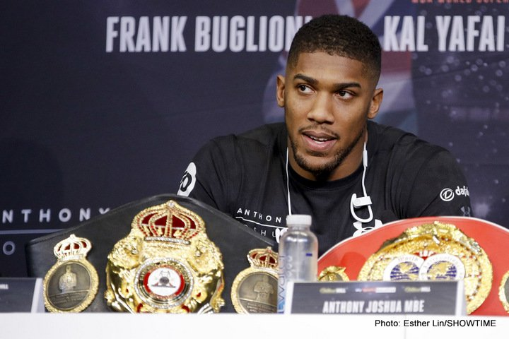 Anthony Joshua - Fans have both read and heard the various insults Tyson Fury has hurled Anthony Joshua's way; the soon to return, unbeaten lineal heavyweight champ vowing to do all manner of things to the reigning WBA/IBF champion when they meet, possibly next summer. And Joshua, usually a reserved, polite and fully respectful person, has had enough of it. AJ says he is no longer able to respect Fury and that Fury has discredited everything he has accomplished.