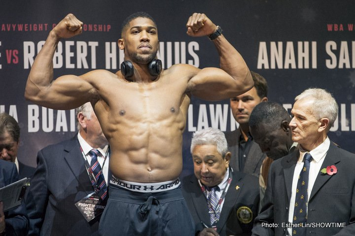"Anthony Joshua, Deontay Wilder - Anthony Joshua, the reigning and undefeated WBA and IBF champion, is certainly sounding as though he feels he is The Man, the top dog, of his weight division – the man who calls the shots. Ahead of his three-belt unification fight with WBO ruler Joseph Parker, AJ has come out and said that unless he ""gets realistic,"" WBC ruler Deontay Wilder will be ""frozen out"" in terms of getting the big fight with him."