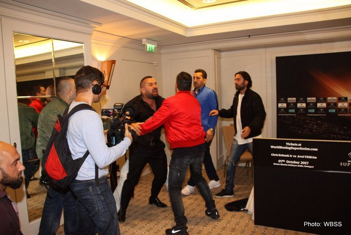 Avni Yildirim, Chris Eubank Jr - British IBO Champion Chris Eubank Jr. (25-1-0,19 KOs) and Turkish Avni Yildirim (16-0, 10 KOs) and their respective teams fought with words at an overheated press conference before Saturday's Ali Trophy quarter-final clash at the Hanns-Martin-Schleyer Halle.