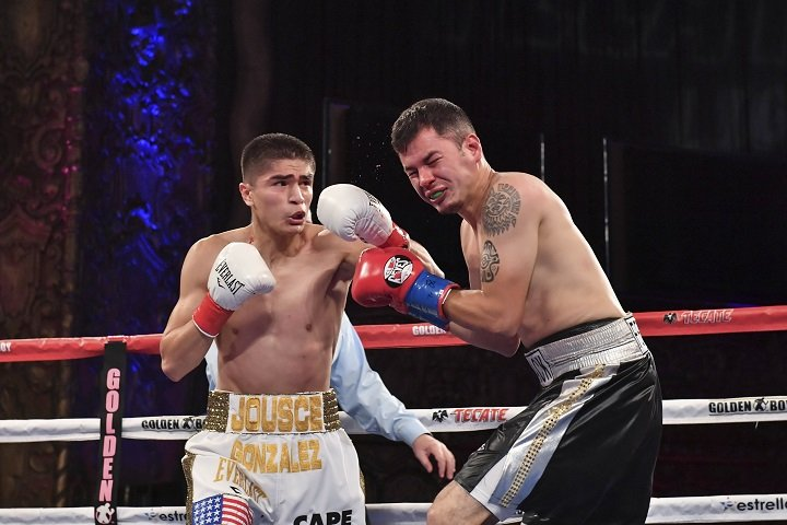 """Christian Gonzalez - Christian """"Chimpa"""" Gonzalez (18-1, 15 KOs) confirmed yet again that he is one of the best and brightest prospects of the exclusive Golden Boy Promotions stable with a hard-earned eight-round unanimous decision victory against former WBC Super Featherweight Champion Gamaliel """"El Platano"""" Diaz (40-18-3, 19 KOs) of Michoacan, Mexico in the main event of the latest edition of LA FIGHT CLUB at the Belasco Theater in Downtown Los Angeles and televised live nationally on Estrella TV's Boxeo Estelar. The charismatic knockout artist of Buena Park, Calif. won with scores of 79-72, 79-72 and 76-75 in a tough fight held in the super lightweight division."""