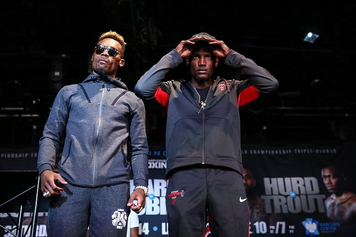 Austin Trout, Erickson Lubin, Erislandy Lara, Jarrett Hurd, Jermell Charlo, Terrell Gausha - Six of the world's best 154-pound boxers met face-to-face at the Highline Ballroom in Manhattan on Thursday at the final press conference for this Saturday's world championship tripleheader live on SHOWTIME. (Photo by Stephanie Trapp/SHOWTIME)